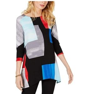 Alfani Womens Colorblock Long Pullover Top LARGE